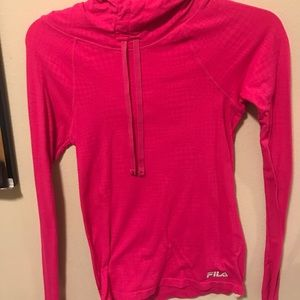 Fila Sport Long Sleeve Hooded Pink Running Shirt